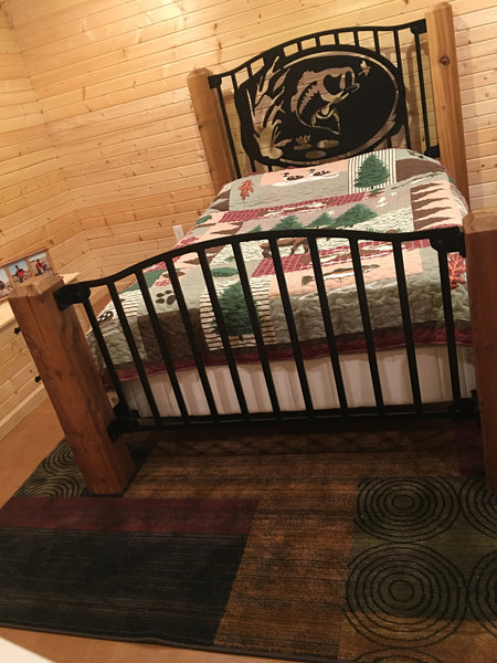 """Top Water Bass"" Rustic Queen Bed"