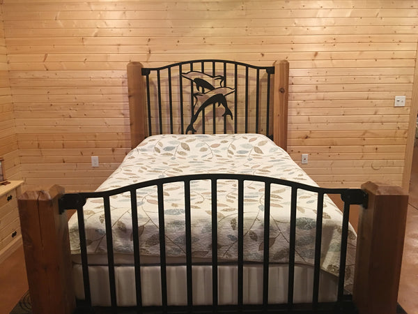 """Playing Dolphins"" Rustic Queen Bed"