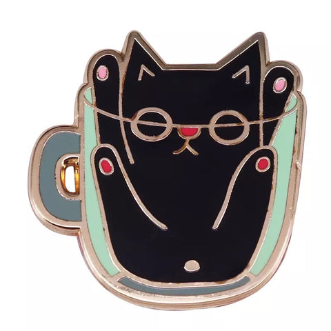 Cat In a teacup Enamel Pin