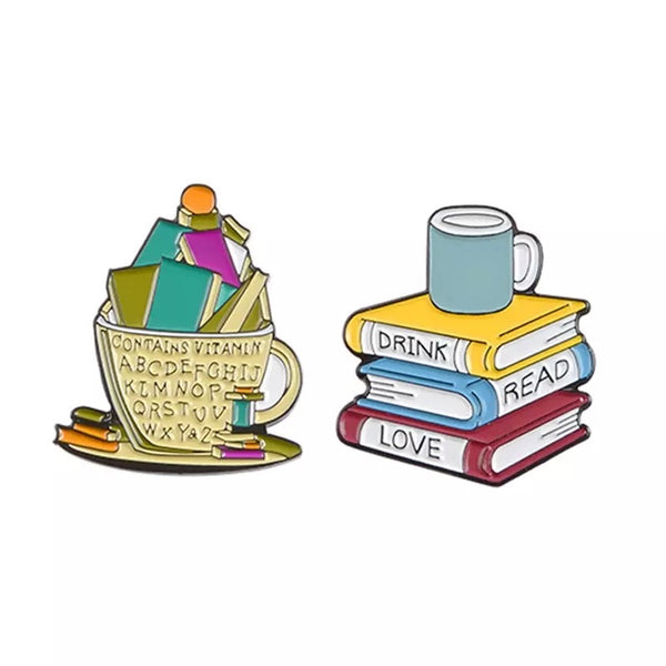 Books in a Mug Enamel Pin