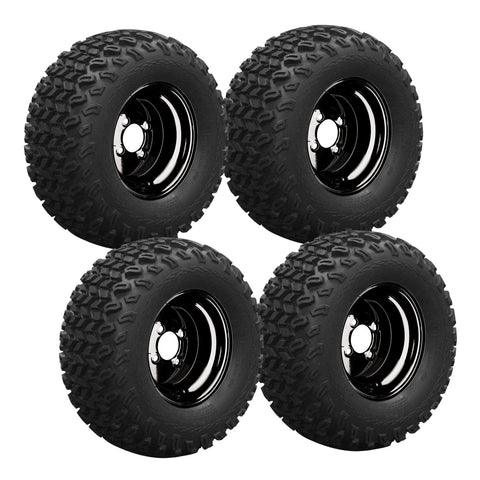 10X 6-4 Hole Black Steel Wheel Pkg