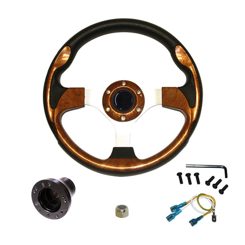 "EZGO Steering Wheel | 13"" - Wood Grain"