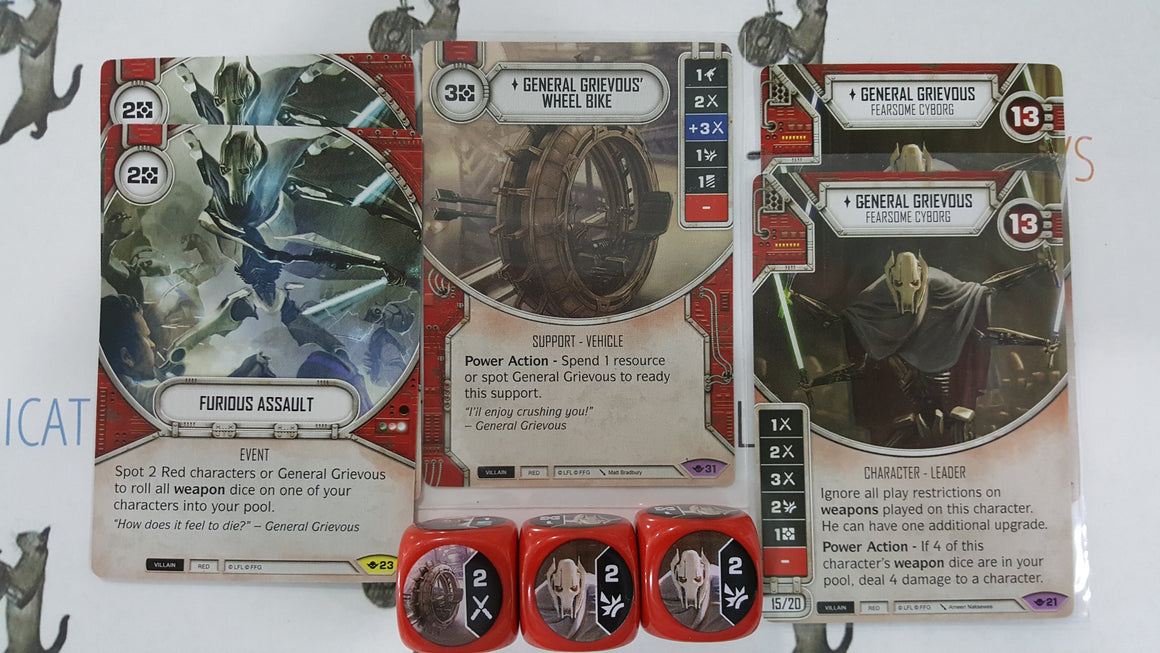 Star Wars Destiny Way of the Force Wheel Bike 2x General Grievous Furious Assault