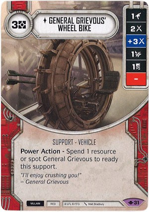 Star Wars Destiny Way of the Force w/Die #31 General Grievous' Wheel Bike