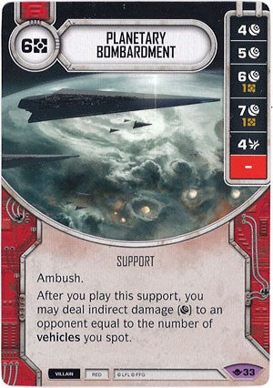 Star Wars Destiny Way of the Force w/Die #33 Planetary Bombardment
