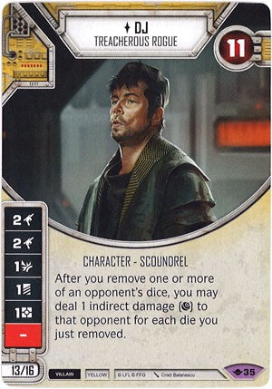 Star Wars Destiny Way of the Force w/ die #35 DJ Treacherous Rogue
