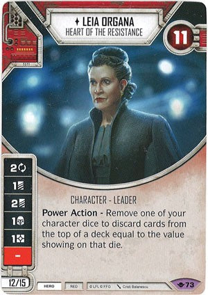 Star Wars Destiny Way of the Force w/ die #73 Leia Organa: Heart of the Resistance