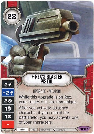 Star Wars Destiny Way of the Force w/ die #87 Rex's Blaster Pistol