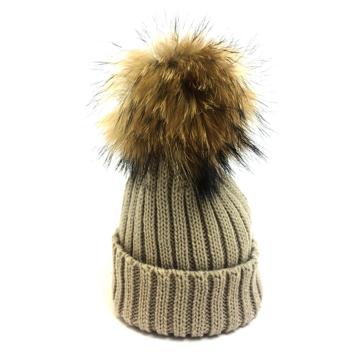 Kids fur ribbed knit pom pom hats it was from - ItWasFrom fbbf89a6ed4