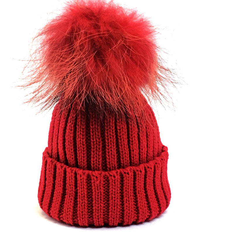 Kids fur ribbed knit pom pom hats it was from - ItWasFrom 8f917699d3a