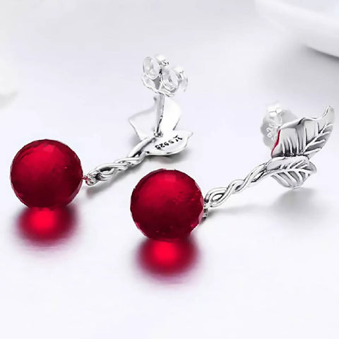 CR Charms Aretes Colgantes Cereza Brillante