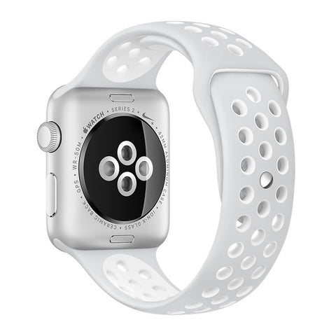 Apple Watch 42 mm Nike + Silver Aluminum Case-Nike Sport Band White