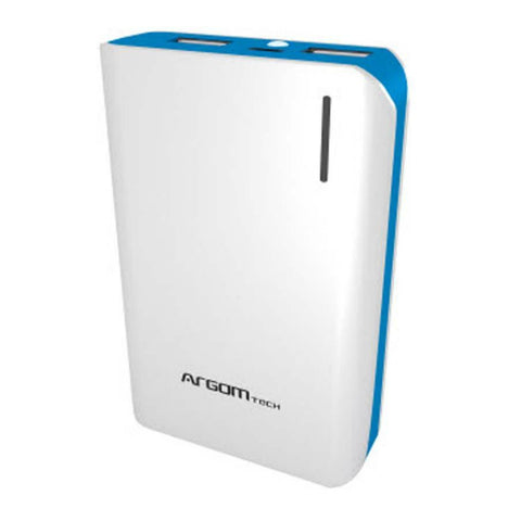 Argom Power Bank 10000 mAh Cargador Externo, Blanco