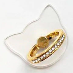Creative Case Holder Anillo Gato Transparente, Dorado