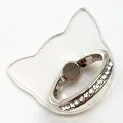 Creative Case Holder Anillo Gato Transparente, Plata
