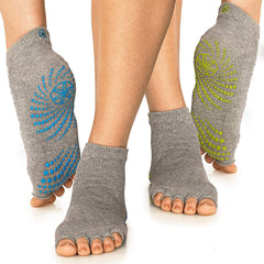 Gaiam Calcetines para Yoga Toeless Grippy, 2 Paquetes Azul/Amarillo