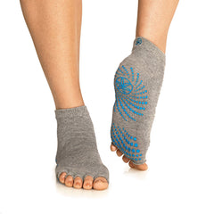 Gaiam Calcetines para Yoga Toeless Grippy M Gris/Azul