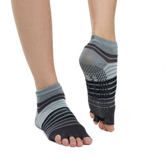 Gaiam Calcetines para Yoga Toeless Gris/Negro