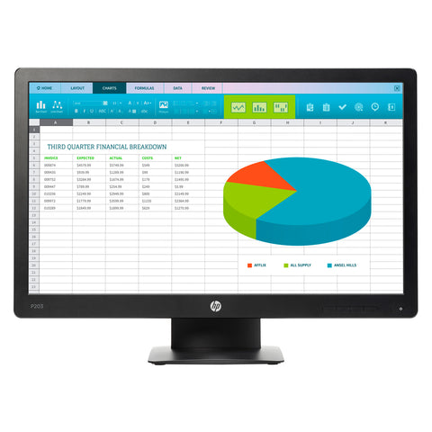 "HP Monitor 20"" LED ProDisplay P203 (X7R53A8)"