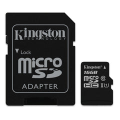 Kingston Tarjeta de Memoria 16GB MicroSD con Adaptador Clase 10 (SDCS/16GB)