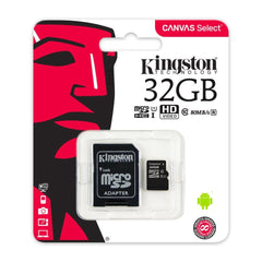 Kingston Tarjeta de Memoria 32GB MicroSD con Adaptador Clase 10 Canvas Select, (SDCS/32GB)