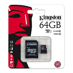 Kingston Tarjeta de Memoria 64GB MicroSD con Adaptador Clase 10 (SDC10G2/64GB)