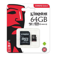 Kingston Tarjeta de Memoria 64GB MicroSD con Adaptador Clase 10 (SDCS/64GB)