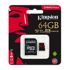Kingston Tarjeta de Memoria 64GB MicroSDXC con Adaptador Clase 10 (SDCR/64GB)