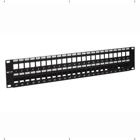 Nexxt Solutions Infrastructure Patch Panel para Montaje en Rack Tablero de Conexiones, 48 Puertos, 2U, 19""