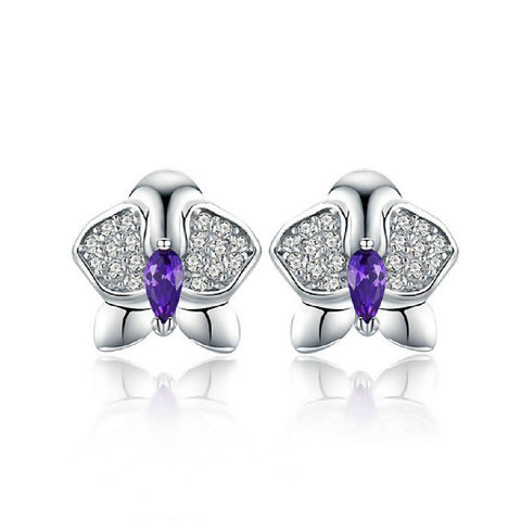 CR Charms Aretes Guaria Morada