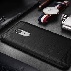 Raugee Estuche Silicon Diseño Fibra de Carbono para Xiaomi Redmi Note 4 Global Y China