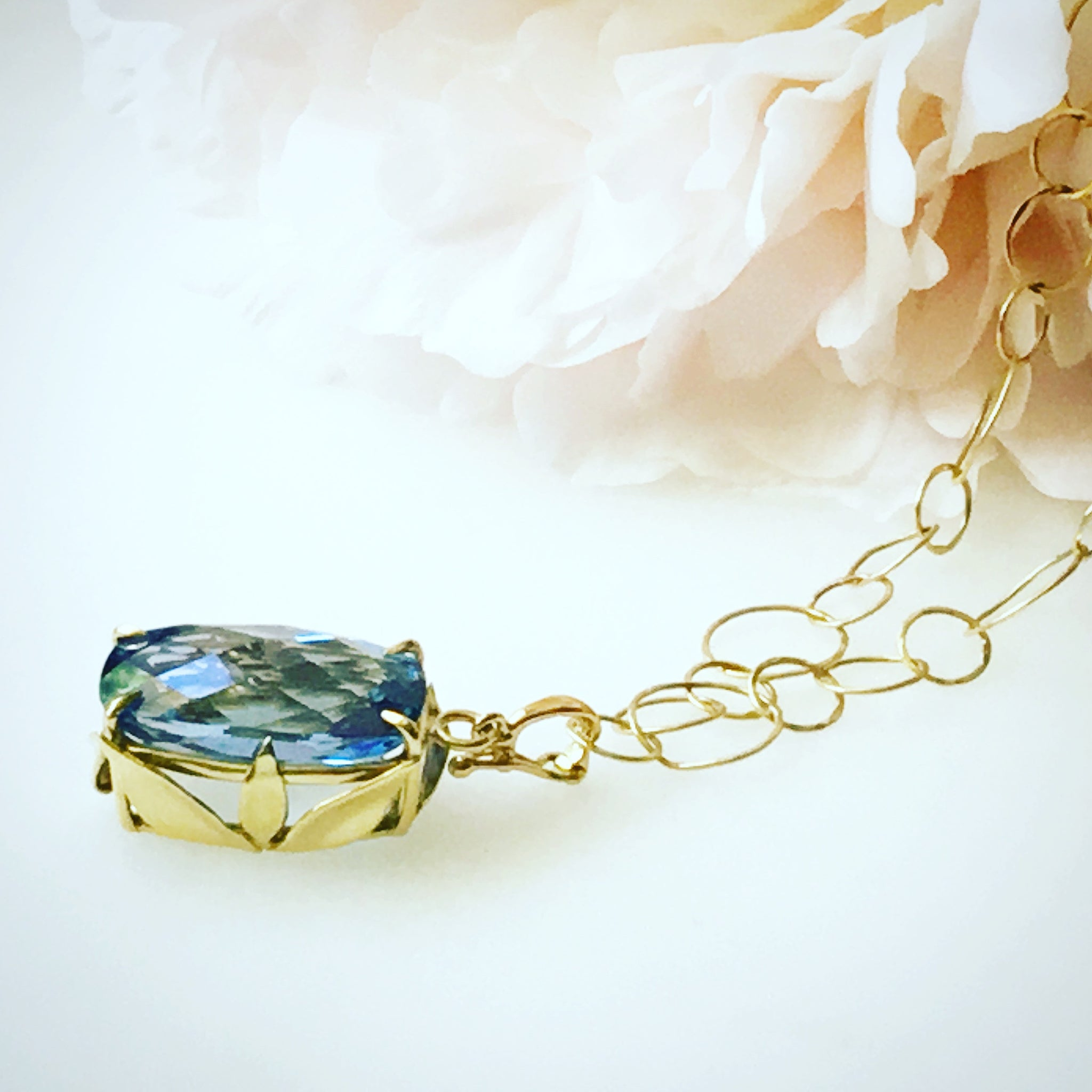 18k and London Blue Topaz Pendent