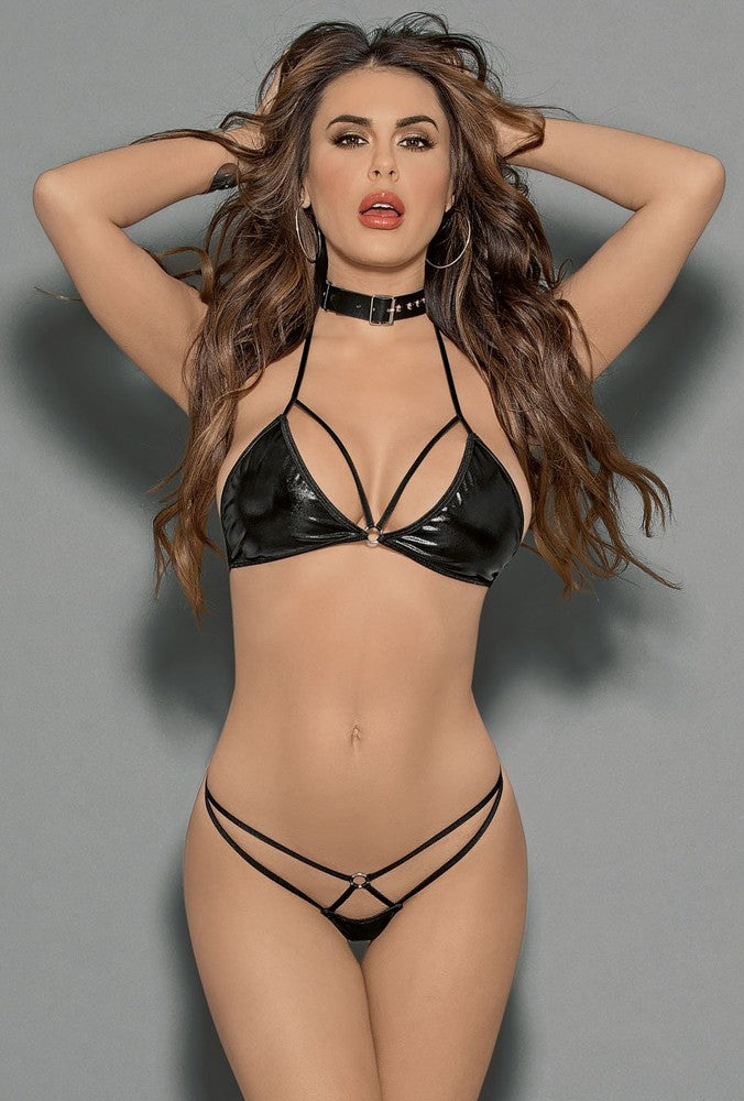 Buckle Choker Bra & Panty Set