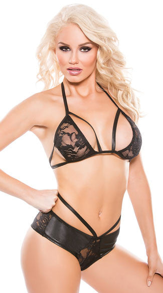 STRAPPY LACE AND WET LOOK BRA SET