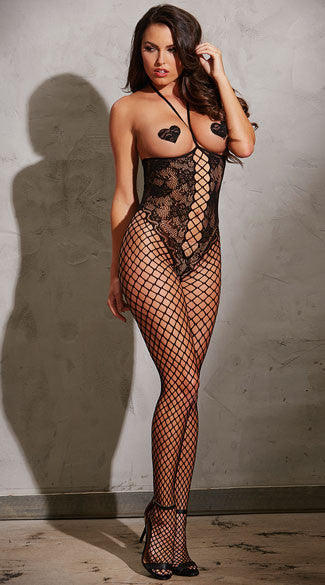 OPEN CUP FISHNET AND LACE BODYSTOCKING