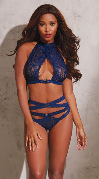 HIGH WAISTED MIDNIGHT BRALETTE SET