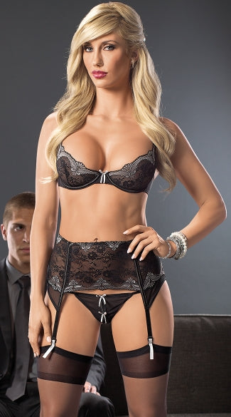 BUSINESS AS USUAL SEXY BRA AND GARTERBELT SET
