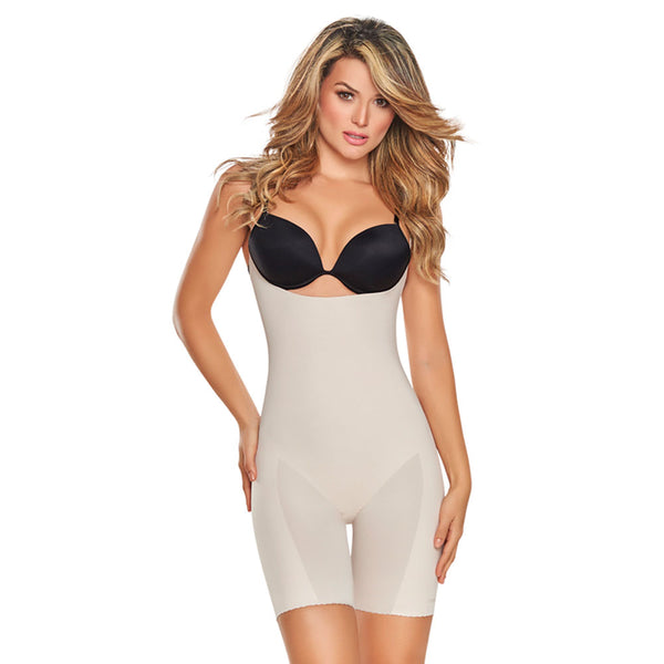 Seamless Mid-Thigh Bodysuit Shaper with booty