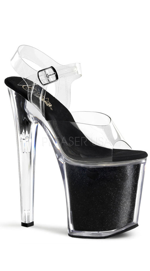 8 INCH STILETTO ANKLE STRAP GLITTER-FILLED PF SANDAL
