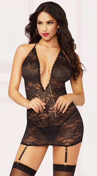 MIDNIGHT BLACK AND GOLD CHEMISE SET