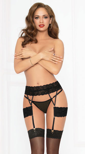 LAVISH LACE GARTER BELT SET