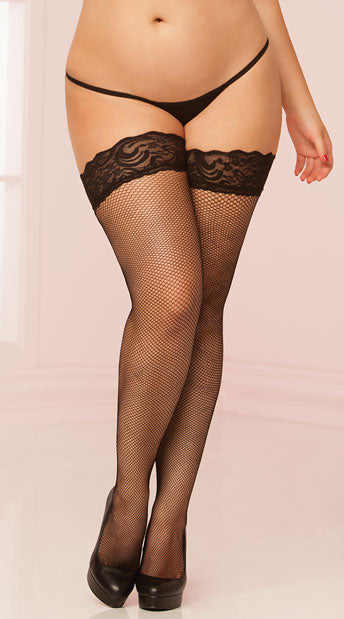 Plus Size Micro Fishnet Lace Top Thigh Highs