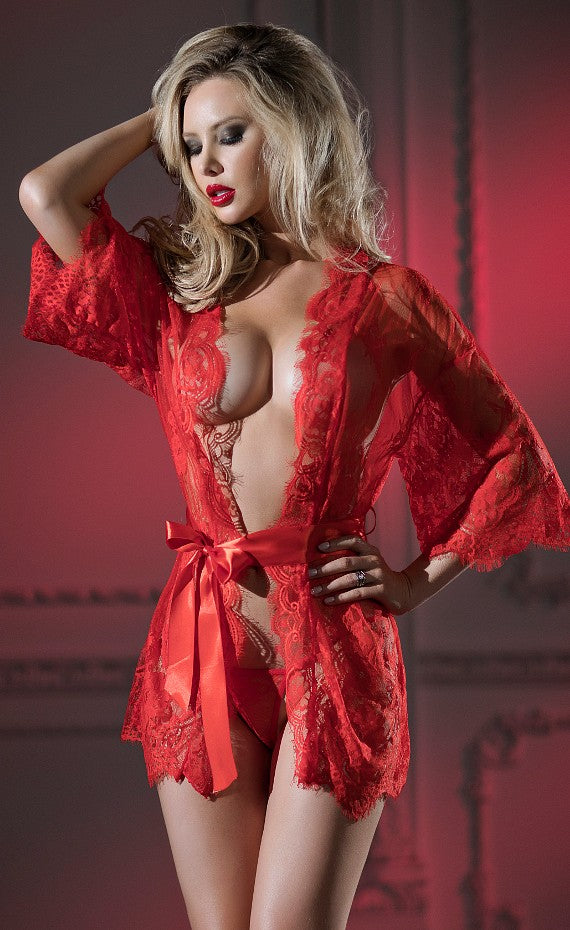 Red Belle Eyelash Lace Robe Set