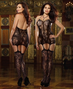 Plus Size Lace fishnet halter garter dress