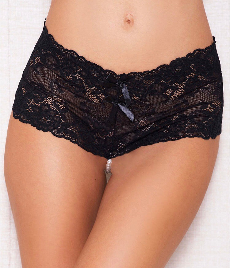 LACE AND PEARL HIGH WAISTED PANTY