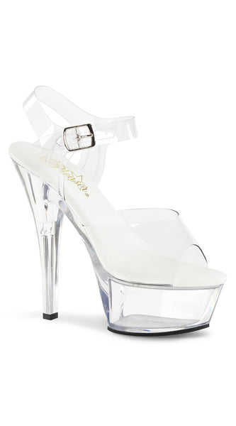 CLEAR ALL VEGAN ANKLE STRAP SANDAL