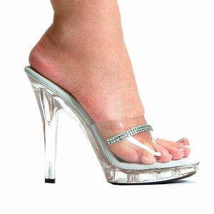 "5"" CLEAR SANDAL WITH RHINESTONES"