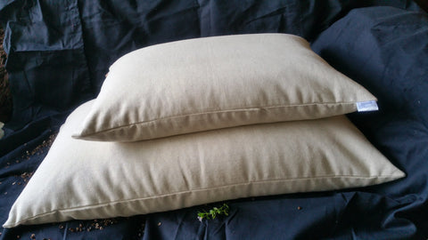 "Small Hemp Covered buckwheat hull/husk pillow also known as Japanese style soba Gara makura pillow 21"" x 15"""
