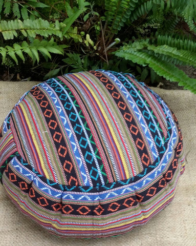ROUND Buckwheat Hull Zafu Covered In Exotic Salvador Hasina Cotton Fabric