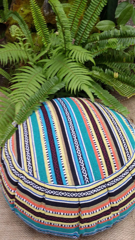 Exotic Lima Hasina Woven Fabric Buckwheat Hull Yoga/MEDITATION Cushion